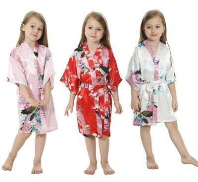 Kids Satin Silk Kimono Bridal Bridesmaid  peacock gown satin kimono Night Dress