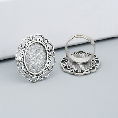 10/30pcs Vintage Silver 13x18mm Oval Blank Cabochons Setting Flower Hand Rings