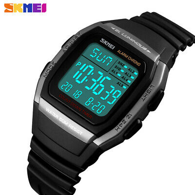 SKMEI Digital Watch Alarm MILITARY Mens Watches Sports 50m Waterproof Wristwatch