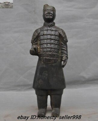 "14""Old Chinese Bronze Ancient Qin dynasty Terracotta Warriors soldier Statue"