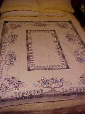 """Vintage Printed Tablecloth w/ Pink and Blue Flowers 54"""" X 63"""""""