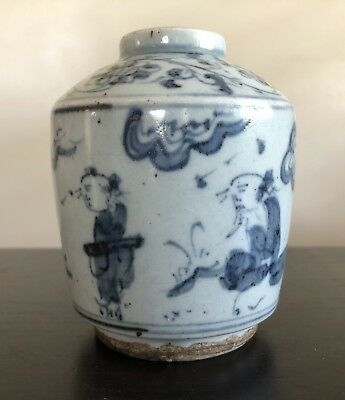 Fine Antique Chinese Ming Qing Blue White Porcelain Bottle Vase w Figures Art
