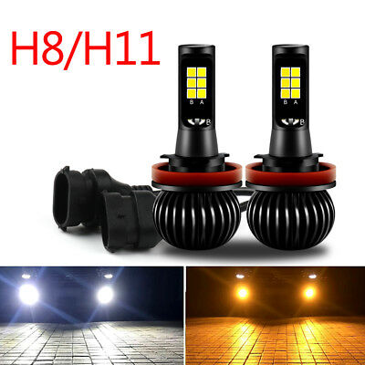 Pair H8 H11 Car Lampe LED Phare Voiture Feux Blanc/Jaune Fog Headlight 2600LM.