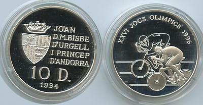 G0444 - Andorra 10 Diners 1994 KM#95 Summer Olympic Games Radsport Proof Silber