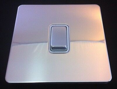 Get 1 Gang 2 Way Light Switch Flate Plate Screwless Polished Chrome New In Box