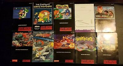 Lot 9 SNES Super Nintendo Instruction Manuals & poster Mario, Aladdin, Yoshi's