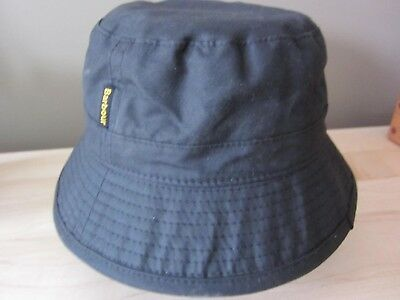 Barbour Size Small Black Waxed Cotton Bucket Hat