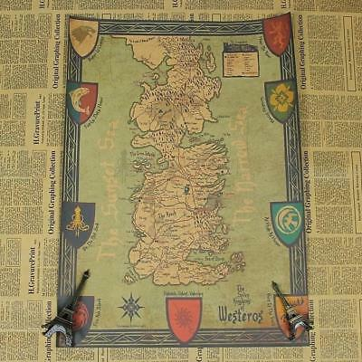Game of Thrones World Map Kraft Paper Movie Poster Vintage Wall Art Crafts NEW