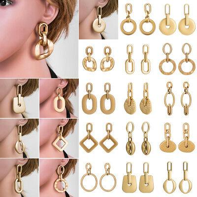 New Fashion Women Statement Boho Gold Plated Alloy Geometric Big Dangle Earrings
