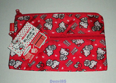 VERY CUTE! 2014 Sanrio HELLO KITTY Double-Zippered Nylon Pouch! NEW!