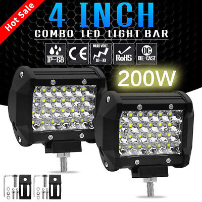 200W 4'' LED Work Light Bar Jeep Driving Lamp Fog Off Road SUV Cars Boat Truck