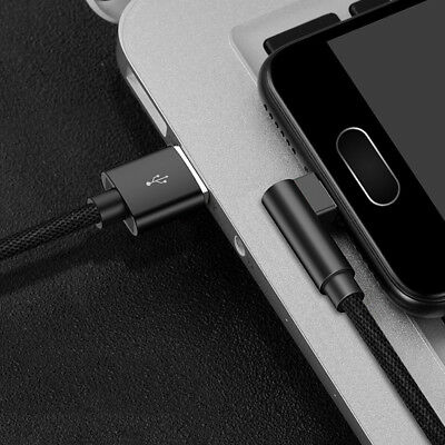 1×For iPhone 7 8 Plus X Braided 90 Degree Type C Cable Micro USB Data Charger