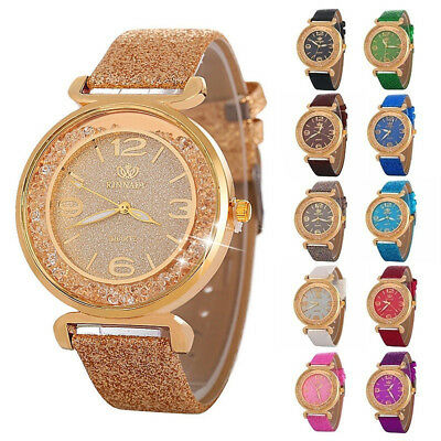 FASHION WOMEN RHINESTONES QUICKSAND SHINING FAUX LEATHER QUARTZ WRISTWATCH Wond