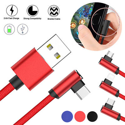 1PC USB Data Sync Charger Cable Braided 90 Degree Right Angle Type C Micro