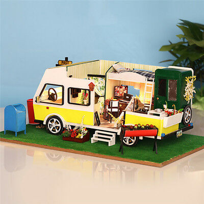 Car Doll House Miniature DIY Dollhouse with Furnitures Toys for Children Kids