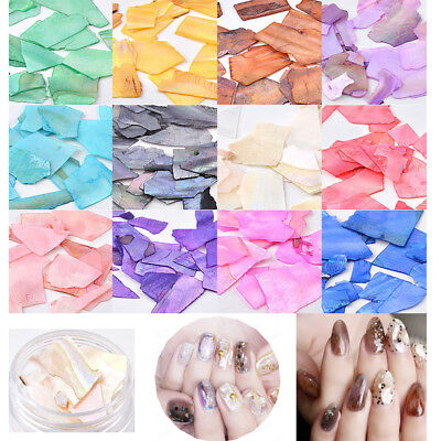12 Colors DIY 3D Shiny Charm Slice Texture Natural Sea Shell Nail Art Decoration