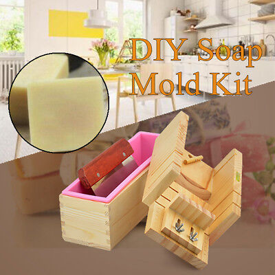 3pcs DIY Wooden Soap Mold Handmade Silicone Box Toast Loaf Cutting Slicer Cutter