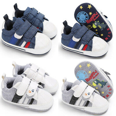 Toddler Pre Walker Sneakers Baby Boy Girl Sofe Sole Pram Shoes Newborn to 18M LT