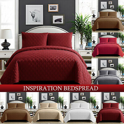 3 Piece Quilted Bedspread Embossed Single Double Super King Size Comforter Sets