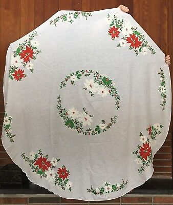 "Vintage Christmas Round Tablecloth 68"" Poinsettias Green White Red Large"