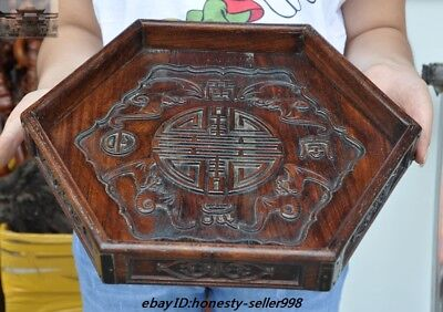 """14"""" Old China Huanghuali Wood Hand Carved Wealth Bat Tea tray Pallets Dish plate"""