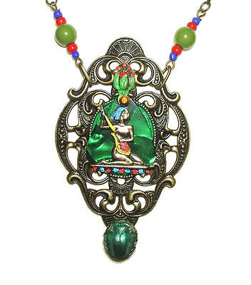 EGYPTIAN REVIVAL Necklace NILE QUEEN w SCARAB Hand Painted SIGNED Large Pendant