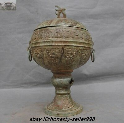 Rare Old Chinese Ancient Bronze Ware Beast Pattern Pot jar Wine container vessel