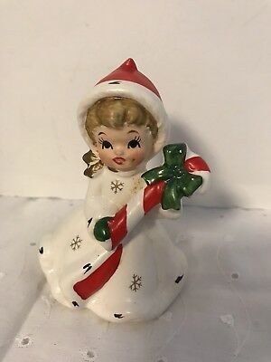 Vintage Napcoware Ceramic Girl with Christmas Candy Cane 50s Napco Woman