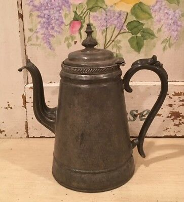 Antique R. Dunham Pewter Coffee Pot Circa Late 1800s ~ Victorian Lid & Spout