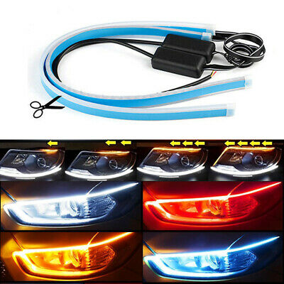 "2x 18"" 24"" Flexible Slim LED Strip Light DRL Sequential Flow Turn Signal Kit"