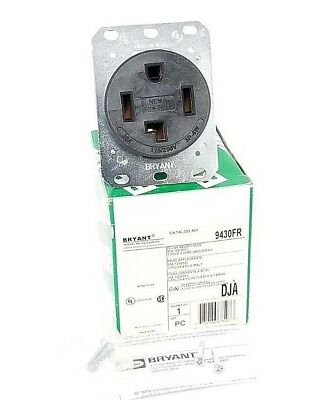 Nib Bryant 9430Fr Flush Receptacle 30A 125/250V, 3-Pole 4 Wire Grounding