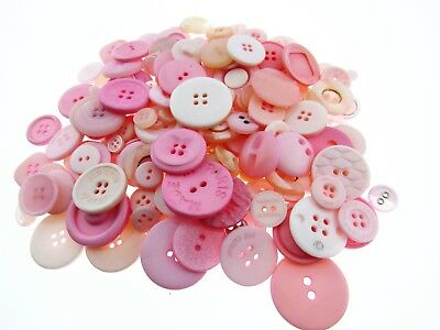 ** Mixed Pink Buttons -  Pastel and Bright Pink Craft Buttons - 1 Kilo Bag