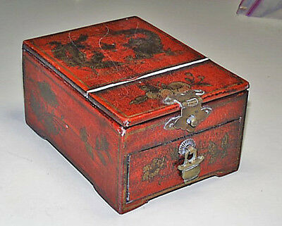 Unusual Japanese Red Lacquer Gold Painted Dragons Jewelry Box Mirror & Drawer