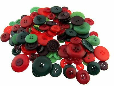 ** Mixed Christmas Buttons -  Red/Green Craft Buttons - 1 Kilo Bag