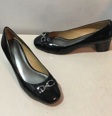 f010f8fcb54 Coach Signature Classic Black Patent Leather Block Heel Shoes size 9.5