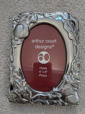 "Arthur Court 2001 BUNNY RABBIT Picture Frame 4"" x 6"" Metalware (#2)"