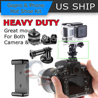 3-in-1 Hot Shoe Mount Adapter Kit for Attaching Phone or GoPro Hero 2 3 4 5