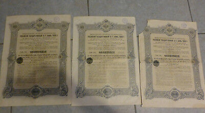 3 Action Titre Emprunt Russe 4 1/2% 1909 Obligation 187,50 Roubles