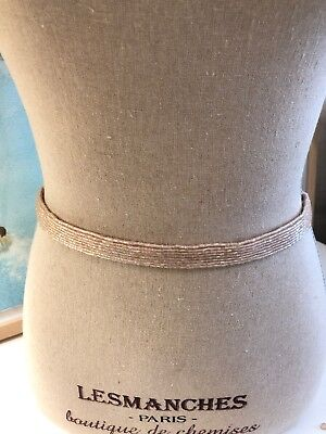 New Anthropologie BHLDN Moyna Beaded Champagne Gloriana Fitted Belt Size Small
