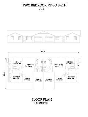 Two bedroom two bath duplex Apartment 948 sq ft per unit plan with garage