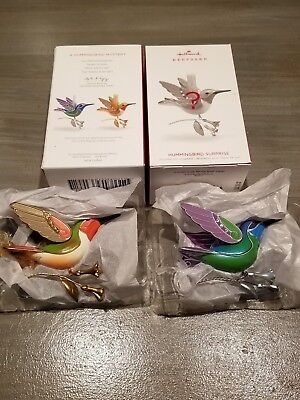 2018 Hallmark Ornament Hummingbird Surprise **gold** & Green Set Of Two - Mib