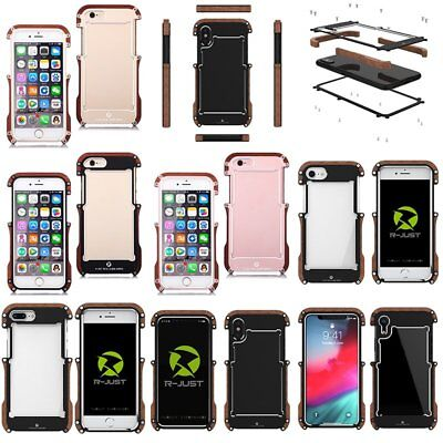 R-JUST Aluminum + Wood Protective Case Cover fr iPhone 6 6s 7 8 Plus X Xs Max XR