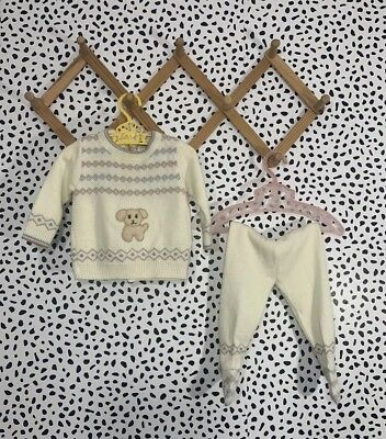 Vintage Baby Set Sweater Pants Boy 6-9 Months