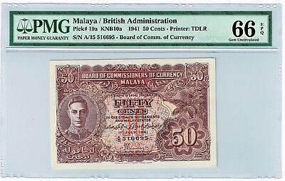 Malaya / British Admin. 50 Cents 1.7.1941 Pick 10a.  PMG Gem Uncirculated 66 EPQ