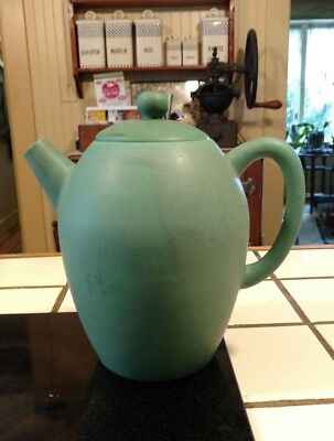 Vintage Arts Crafts Movement Pottery Tea  Or Coffee Pot Matte Green Urn Shaped