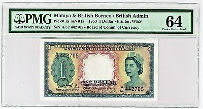 Malaya and British Borneo: $1 21.3.1953 Pick 1a. PMG Choice Uncirculated 64.
