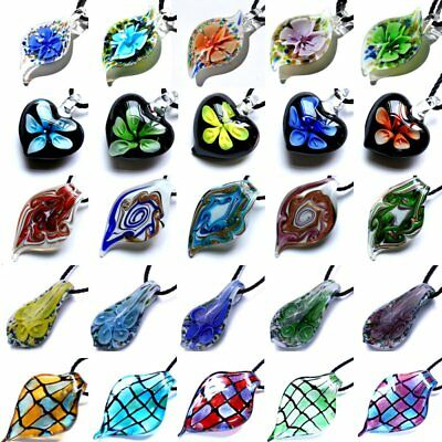 Women Murano Glass Colorful Pendant Necklace Sweater Chain Jewelry Gift Party