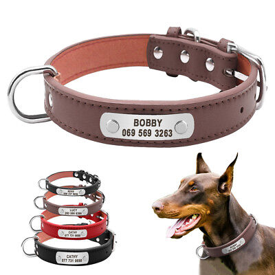 Personalized Dog Collars Leather Pet ID Collar Tag Name Engraved Yorkie Labrador