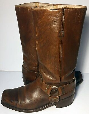 Frye Harness Brown Leather Vintage 80's Biker Riding Motorcycle Boot Men Size 11