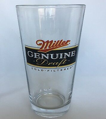 Miller Genuine Draft Beer Glass 16 Ounce Drinking Tumbler Pint MGD